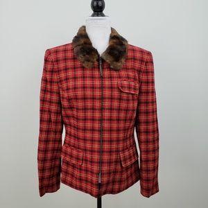Lauren Ralph Lauren Plaid Wool Fur Jacket Women 10